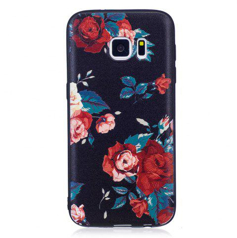 Shops Relief Silicone Case for Samsung Galaxy S7 Red Flowers Pattern Soft TPU Protective Back Cover