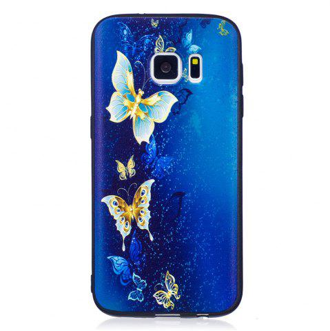 Unique Relief Silicone Case for Samsung Galaxy S7 Golden Butterfly Pattern Soft TPU Protective Back Cover