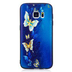Relief Silicone Case for Samsung Galaxy S7 Golden Butterfly Pattern Soft TPU Protective Back Cover -