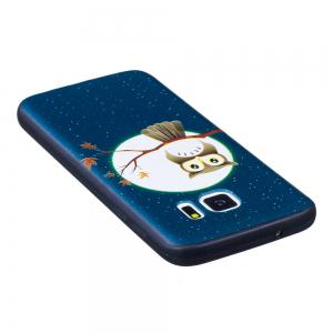 Relief Silicone Case for Samsung Galaxy S7 Moon and Owl Pattern Soft TPU Protective Back Cover -