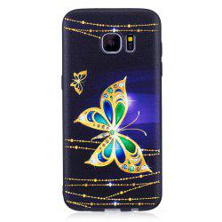 Relief Silicone Case for Samsung Galaxy S7 Edge Large Butterfly Pattern Soft TPU Protective Back Cover -