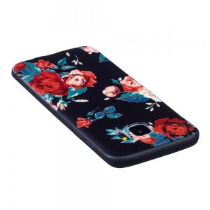 Relief Silicone Case for Samsung Galaxy S7 Edge Red Flowers Pattern Soft TPU Protective Back Cover -