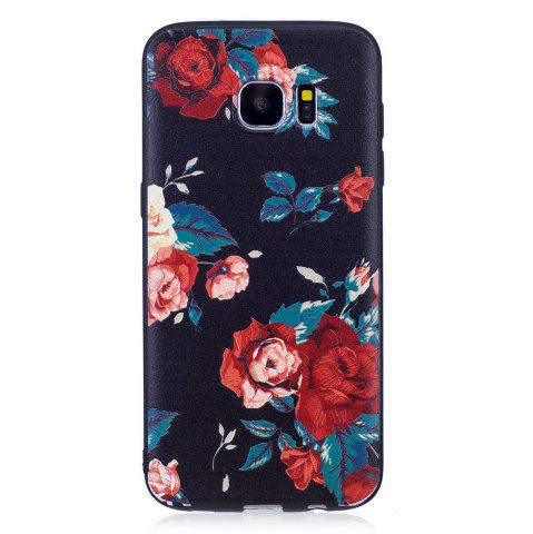 Store Relief Silicone Case for Samsung Galaxy S7 Edge Red Flowers Pattern Soft TPU Protective Back Cover