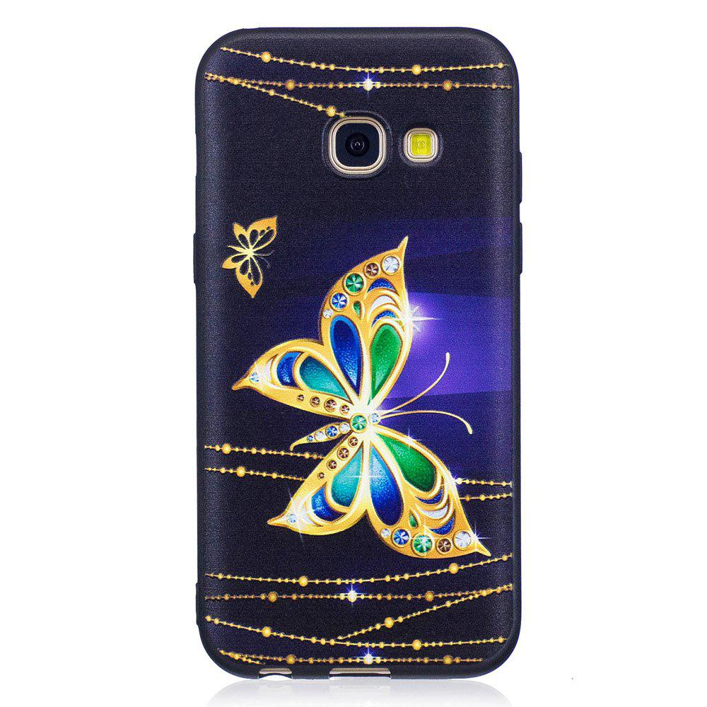 Best Relief Silicone Case for Samsung Galaxy A3 2017 Large Butterfly Pattern Soft TPU Protective Back Cover