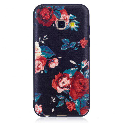 Shop Relief Silicone Case for Samsung Galaxy A3 2017 Red Flowers Pattern Soft TPU Protective Back Cover