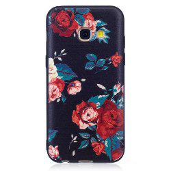 Relief Silicone Case for Samsung Galaxy A3 2017 Red Flowers Pattern Soft TPU Protective Back Cover -