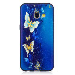 Relief Silicone Case for Samsung Galaxy A3 2017 Golden Butterfly Pattern Soft TPU Protective Back Cover -