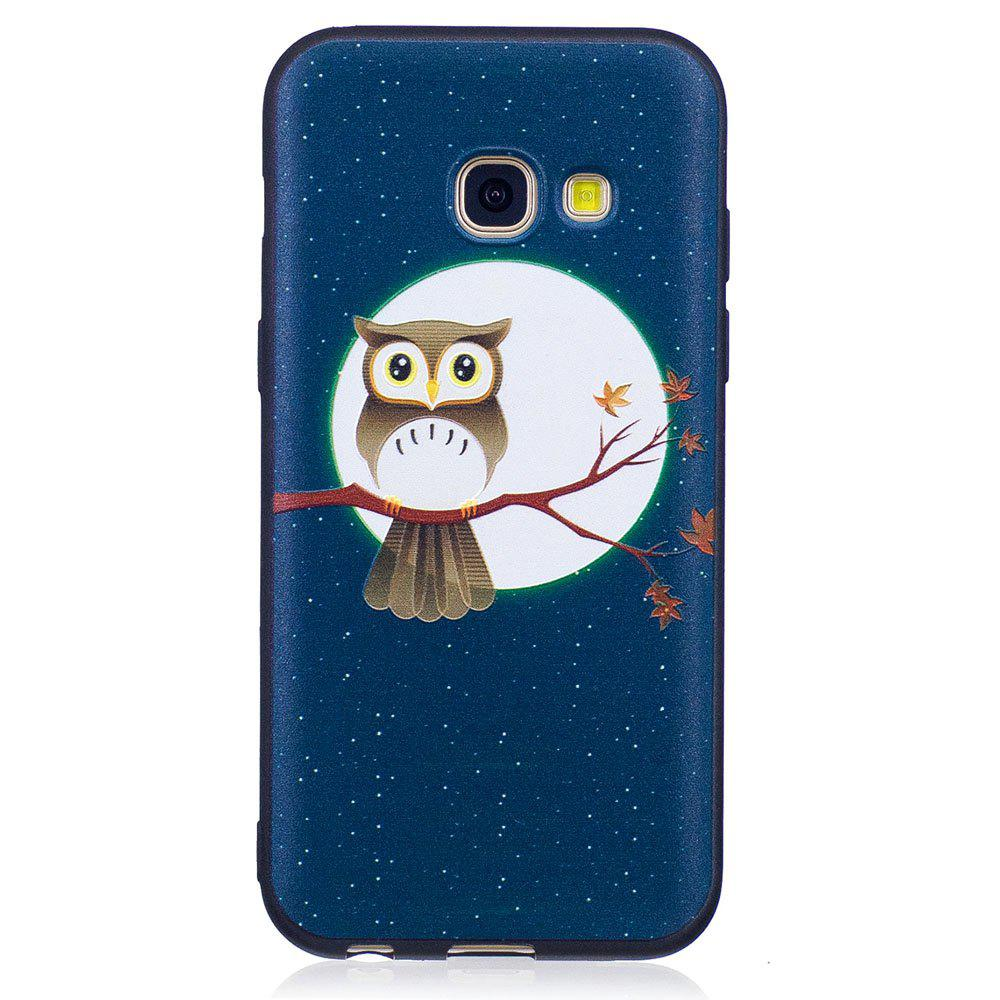 Trendy Relief Silicone Case for Samsung Galaxy A3 2017 Moon and Owl Pattern Soft TPU Protective Back Cover