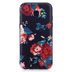 Relief Silicone Case for Samsung Galaxy A5 2017 Red Flowers Pattern Soft TPU Protective Back Cover -