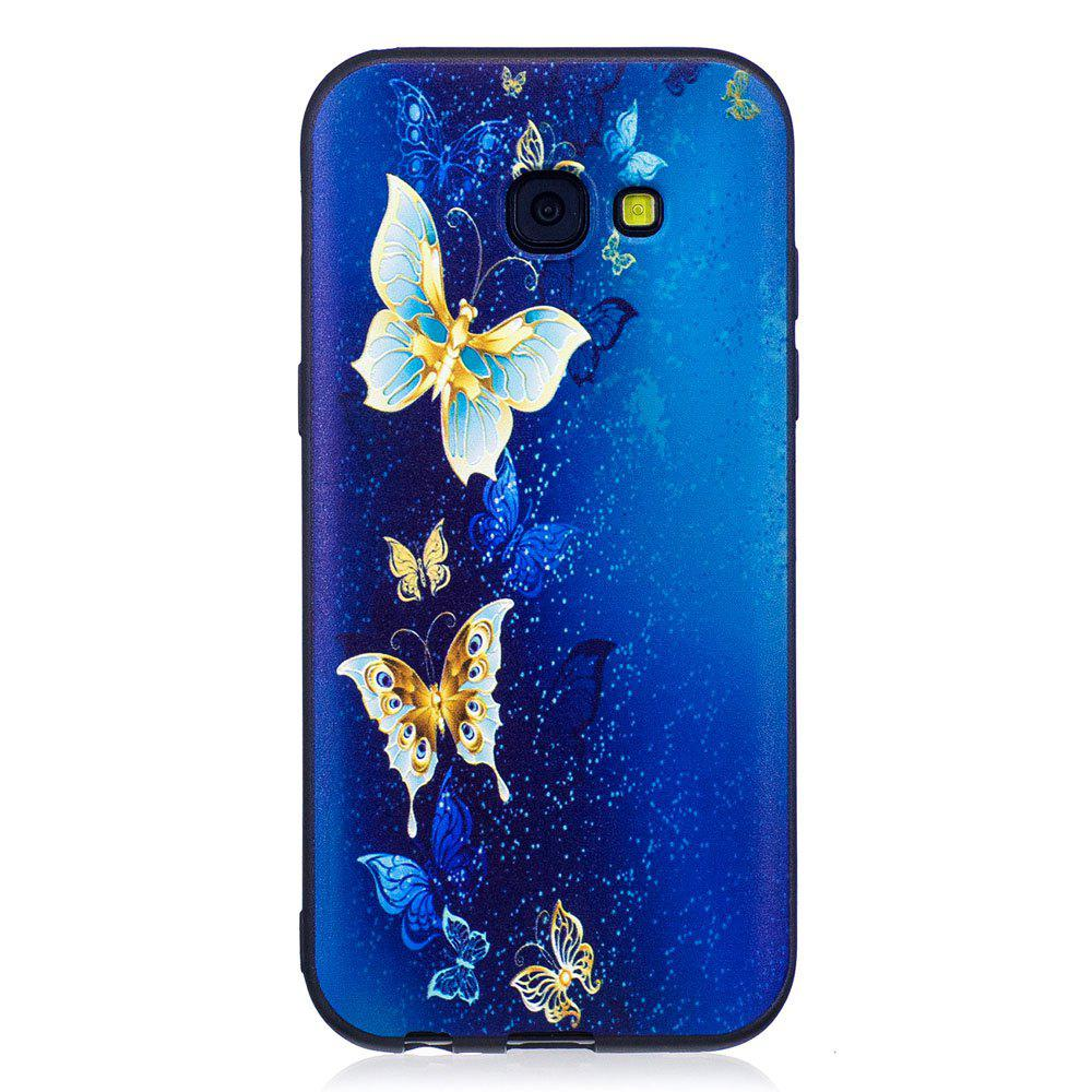 Chic Relief Silicone Case for Samsung Galaxy A5 2017 Golden Butterfly Pattern Soft TPU Protective Back Cover