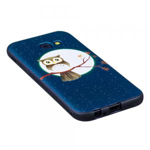 Relief Silicone Case for Samsung Galaxy A5 2017 Moon and Owl Pattern Soft TPU Protective Back Cover -