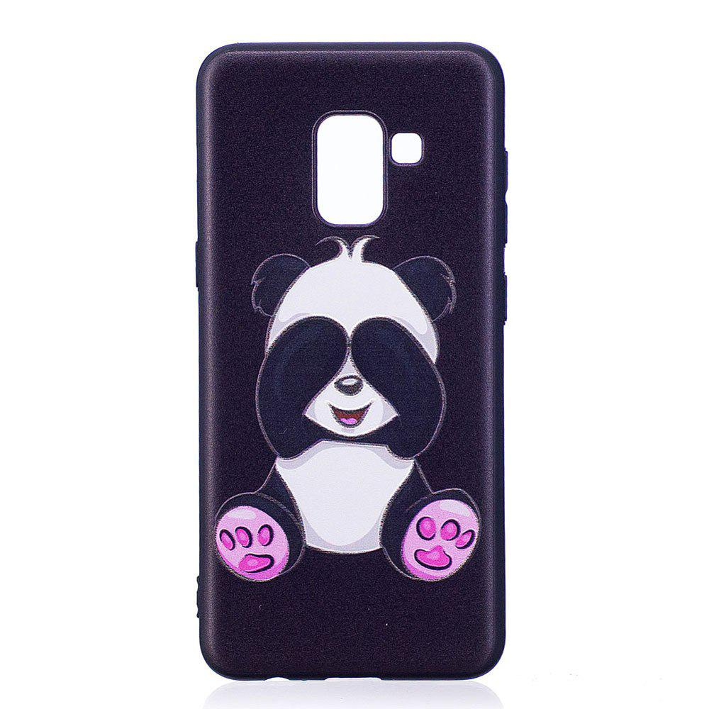 Online Relief Silicone Case for Samsung Galaxy A8 2018 Panda Pattern Soft TPU Protective Back Cover