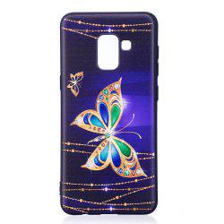 Relief Silicone Case for Samsung Galaxy A8 2018 Large Butterfly Pattern Soft TPU Protective Back Cover -
