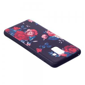 Relief Silicone Case for Samsung Galaxy A8 2018 Red Flowers Pattern Soft TPU Protective Back Cover -