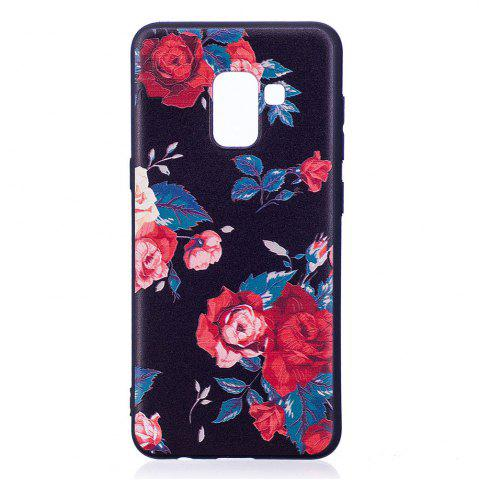 Fancy Relief Silicone Case for Samsung Galaxy A8 2018 Red Flowers Pattern Soft TPU Protective Back Cover