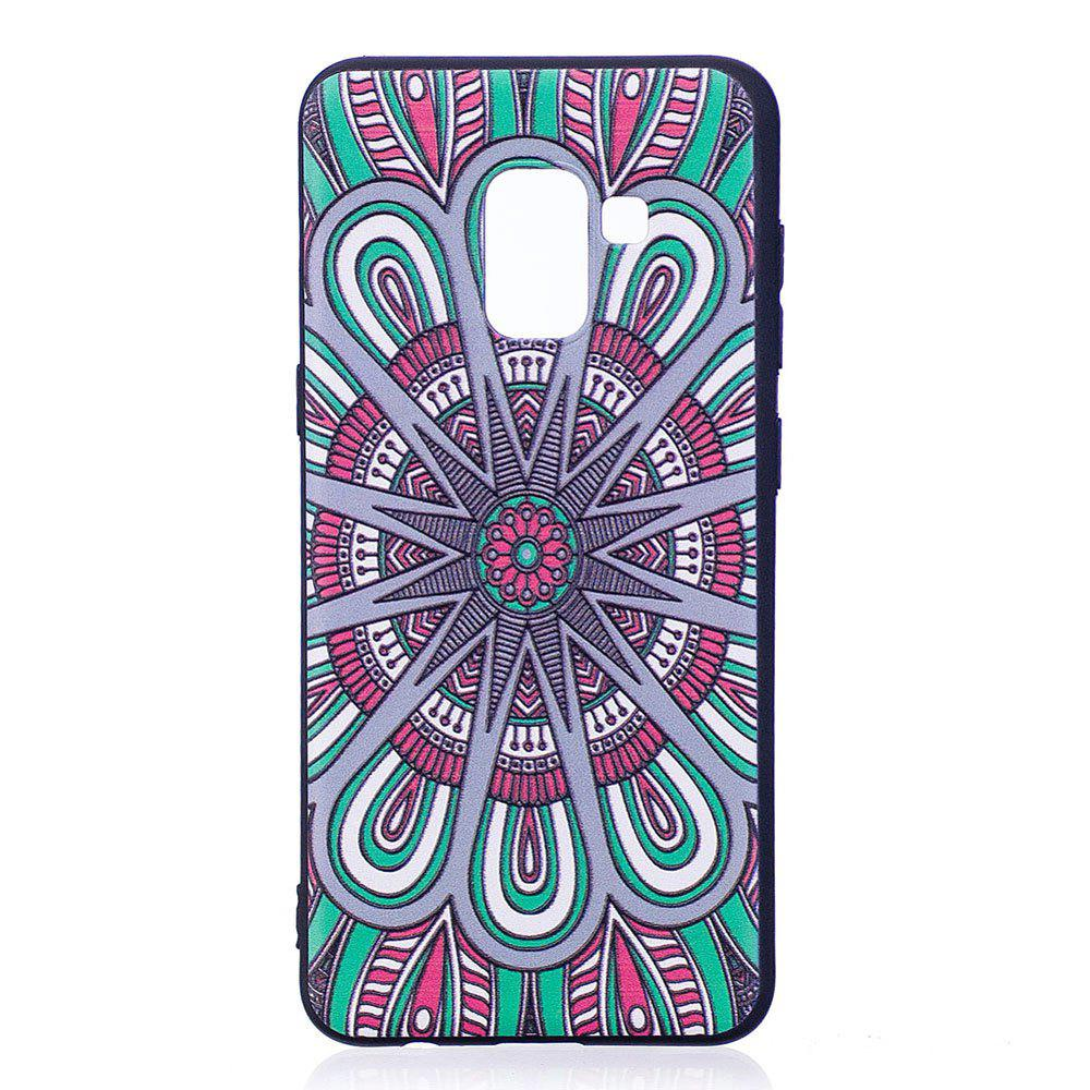 New Relief Silicone Case for Samsung Galaxy A8 2018 Mandala Pattern Soft TPU Protective Back Cover