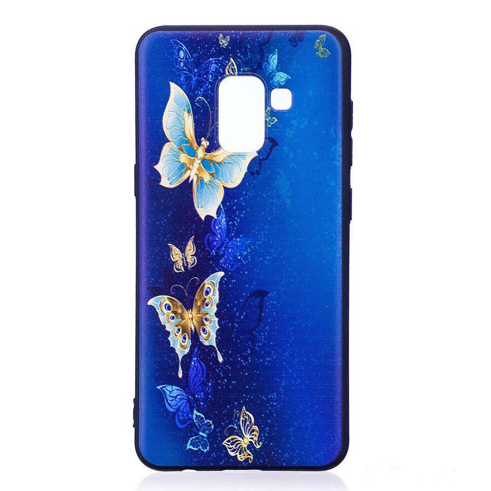 Affordable Relief Silicone Case for Samsung Galaxy A8 2018 Golden Butterfly Pattern Soft TPU Protective Back Cover