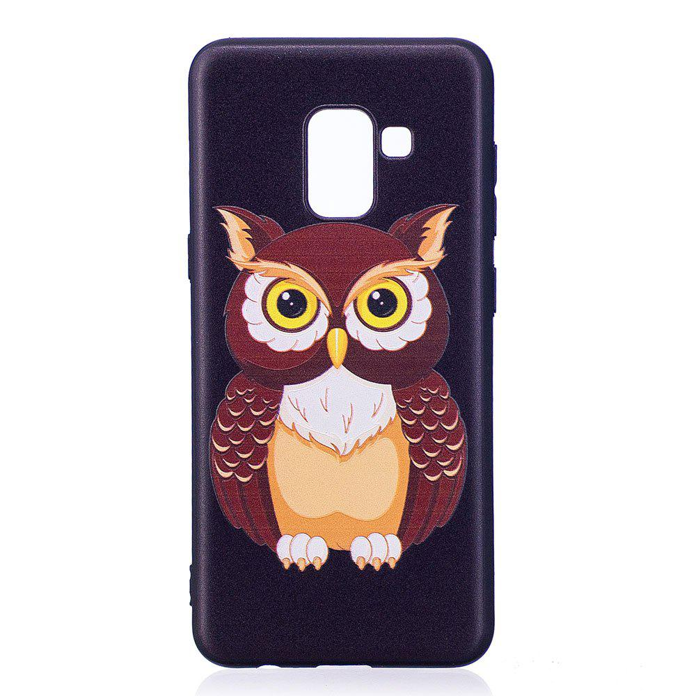 Cheap Relief Silicone Case for Samsung Galaxy A8 2018 Owl Pattern Soft TPU Protective Back Cover