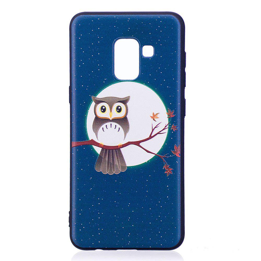 Unique Relief Silicone Case for Samsung Galaxy A8 2018 Moon and Owl Pattern Soft TPU Protective Back Cover