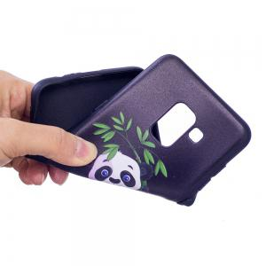 Relief Silicone Case for Samsung Galaxy A8 2018 Bamboo Panda Pattern Soft TPU Protective Back Cover -