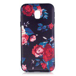 Relief Silicone Case for Samsung Galaxy J3 2017 / J330 Red Flowers Pattern Soft TPU Back Cover Europe Version -