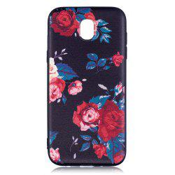 Relief Silicone Case for Samsung Galaxy J5 2017 / J530 Red Flowers Pattern Soft TPU Back Cover Europe Version -