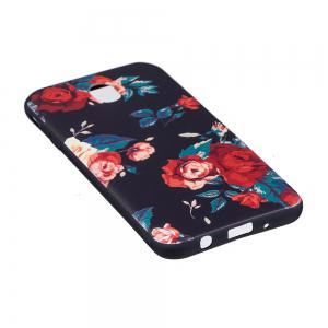 Relief Silicone Case for Samsung Galaxy J7 2017 / J730 Red Flowers Pattern Soft TPU Back Cover Europe Version -