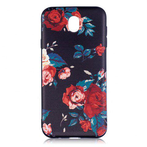 Outfits Relief Silicone Case for Samsung Galaxy J7 2017 / J730 Red Flowers Pattern Soft TPU Back Cover Europe Version