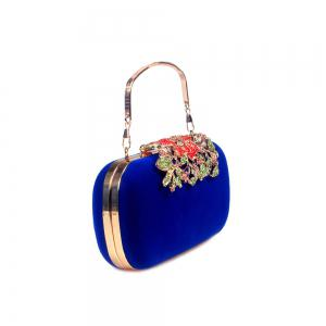 Women Bags Velvet Clutch Crystal Detailing Wedding Event Party -