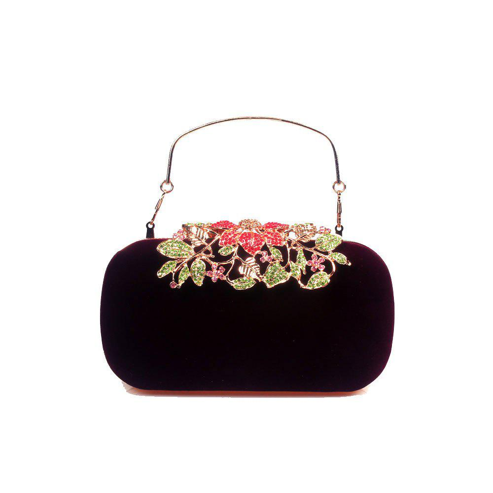 Discount Women Bags Velvet Clutch Crystal Detailing Wedding Event Party