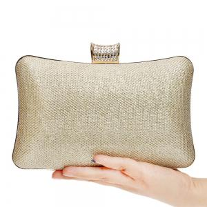 Women PU Bags Leatherette Evening Bag Buttons Crystal Detailing Wedding Event Party -