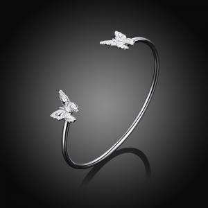 Simple Design Double Butterfly Alloy Bangle Opening Bracelet Charm Jewelry -