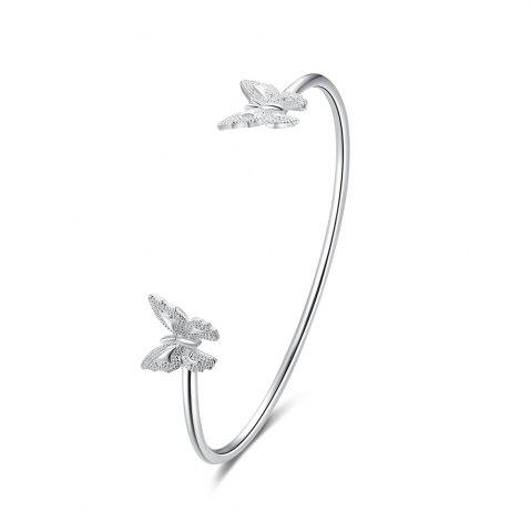 Outfits Simple Design Double Butterfly Alloy Bangle Opening Bracelet Charm Jewelry