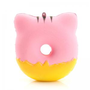 Jumbo Squishy PU Slow Rising Soulagement du stress Jouet Replica Cartoon Cat Souriant Face Donut pour les adultes -