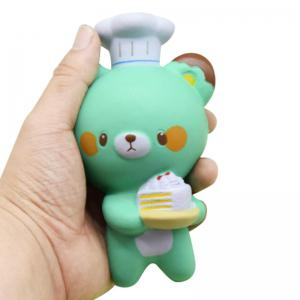 Jumbo Squishy PU Slow Rising Stress Relief Toy Replica Cartoon Chef Bear for Adults 1PC -