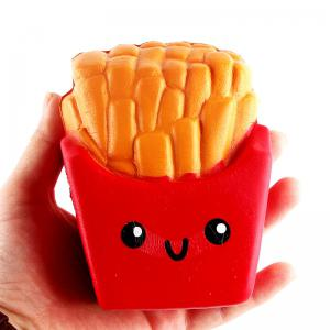 Jumbo Squishy PU Slow Rising Stress Relief Toy Replica Combination of French Fries with Burger Cat for Adults 2PCS -