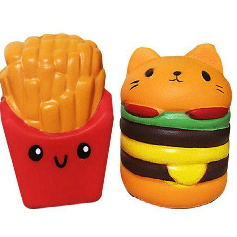 Shop Jumbo Squishy PU Slow Rising Stress Relief Toy Replica Combination of French Fries with Burger Cat for Adults 2PCS