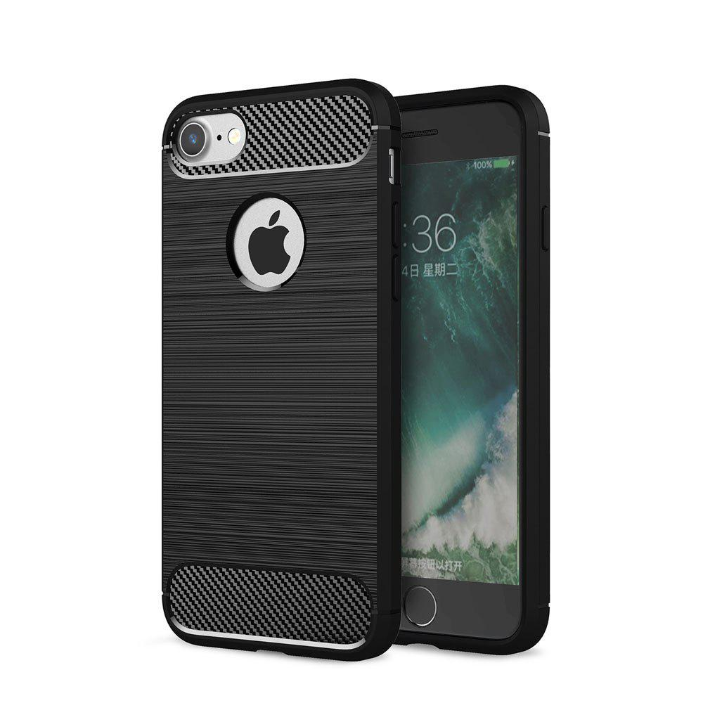 Trendy Case for iPhone 7 Luxury Carbon Fiber Anti Drop TPU Soft Cover