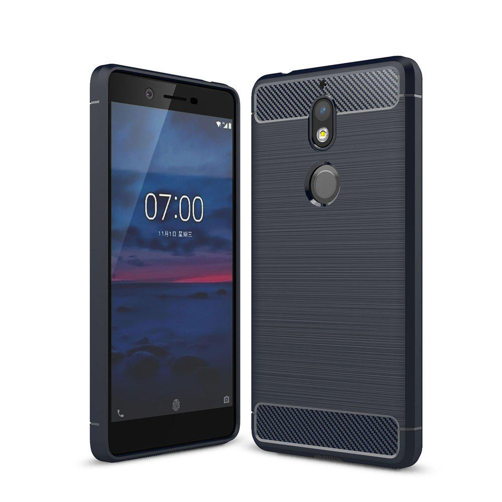 Cheap Case for Nokia 7 Luxury Carbon Fiber Anti Drop TPU Soft Cover