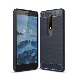 Case for Nokia 6 2018 Luxury Carbon Fiber Anti Drop TPU Soft Cover -