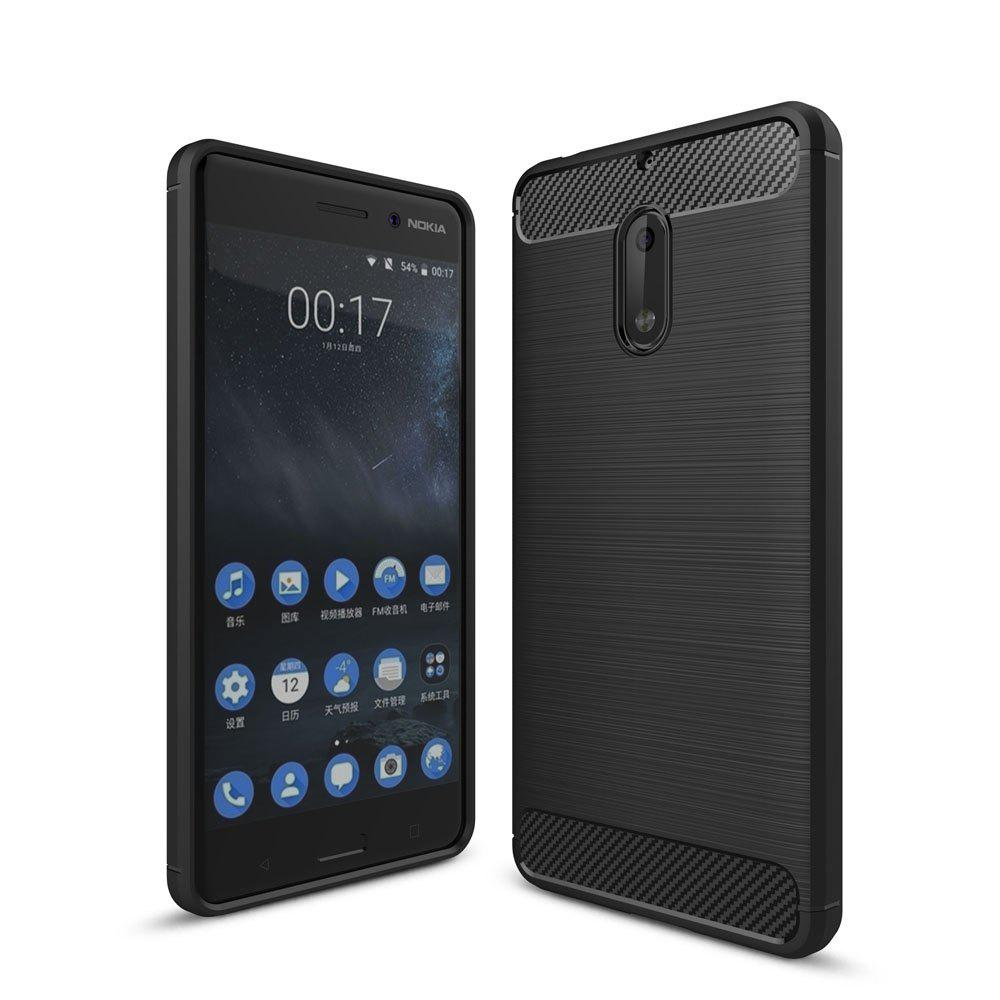 Outfit Case for Nokia 6 Luxury Carbon Fiber Anti Drop TPU Soft Cover