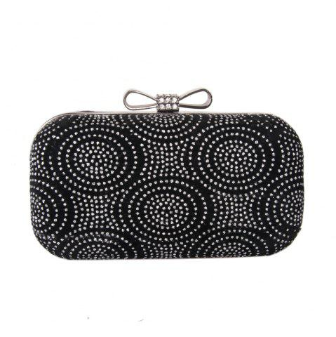 Best Women Velvet Minaudiere Bag Rhinestone Bow Metal Chain MiniSpot Wedding Event Party