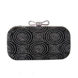Women Velvet Minaudiere Bag Rhinestone Bow Metal Chain MiniSpot Wedding Event Party -