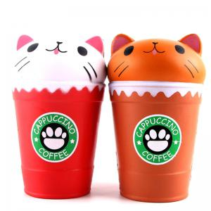 Jumbo Squishy PU Slow Rising Stress Relief Toy Replica Cartoon Cat Head Coffee Cup for Adults -