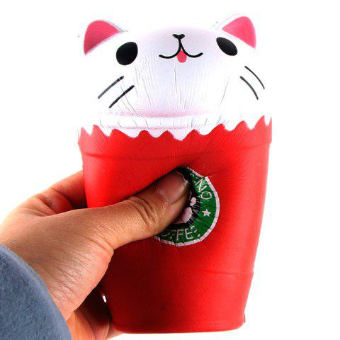New Jumbo Squishy PU Slow Rising Stress Relief Toy Replica Cartoon Cat Head Coffee Cup for Adults