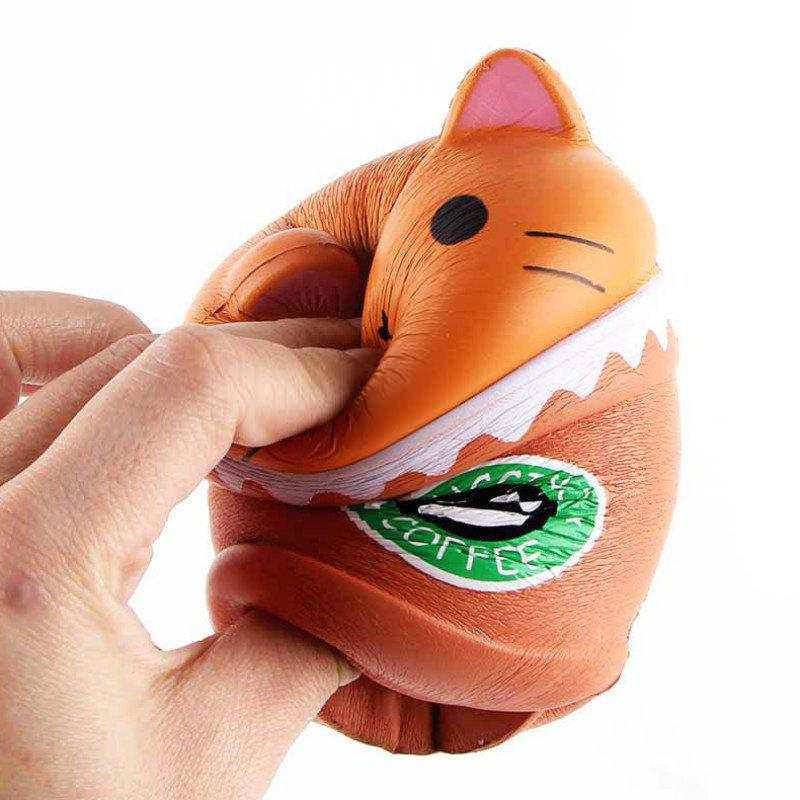 Trendy Jumbo Squishy PU Slow Rising Stress Relief Toy Replica Cartoon Cat Head Coffee Cup for Adults