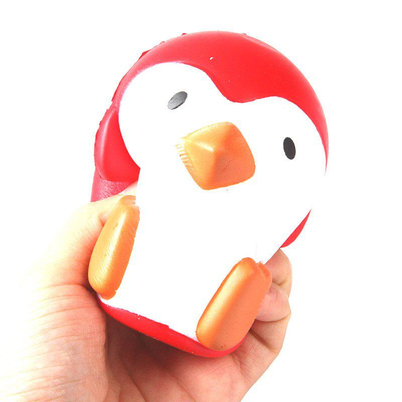 Outfit Jumbo Squishy PU Slow Rising Stress Relief Toy Replica Red Penguin for Adults