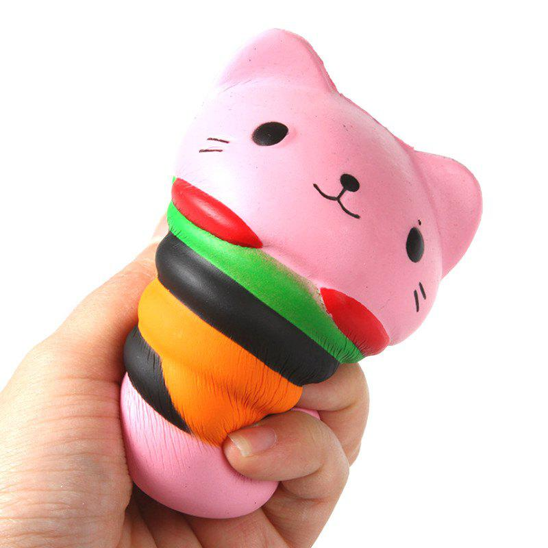 Latest Jumbo Squishy PU Slow Rising Stress Relief Toy Replica Pink Burger Cat for Adults