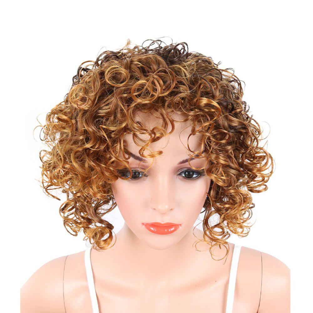 Blonde 10inch Short Side Bang Fluffy Kinky Curly Highlighted Gloden