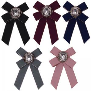 New Fashion Rhinestone Beads Bowknot Brooch Boutonniere Dual Use Temperament Cravat Tie for Lady -